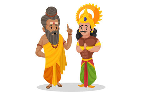 Dronacharya is talking to Arjun. Vector graphic illustration. Individually on a white background.