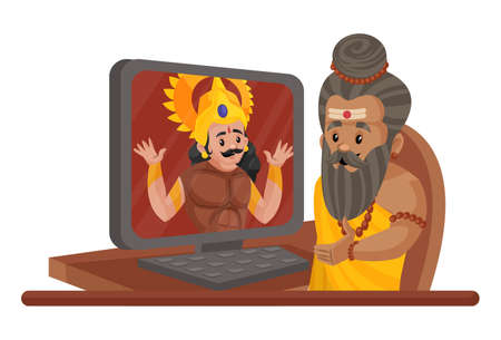Dronacharya is talking to Arjun on a computer. Vector graphic illustration. Individually on a white background.
