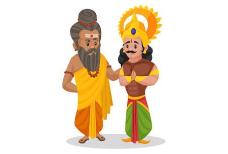 Dronacharya is standing with Arjun. Vector graphic illustration. Individually on a white background.