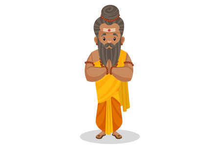 Dronacharya is with greet hands. Vector graphic illustration. Individually on a white background.