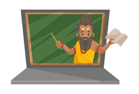 Dronacharya is on the laptop for online teaching. Vector graphic illustration. Individually on a white background.