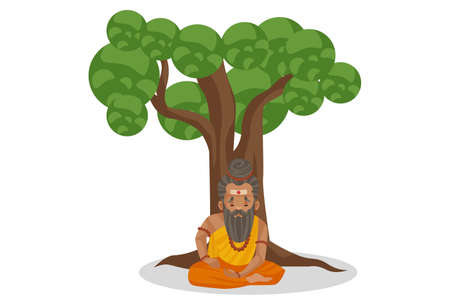 Dronacharya is sitting under a tree. Vector graphic illustration. Individually on a white background. Ilustração