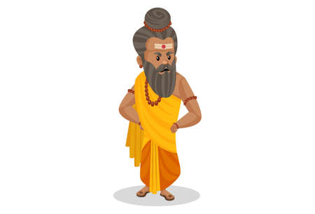 Dronacharya is standing with hands on his waist. Vector graphic illustration. Individually on a white background.