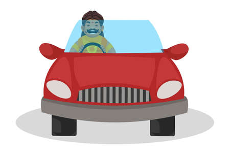 Duryodhana is driving a car and laughing. Vector graphic illustration. Individually on a white background.