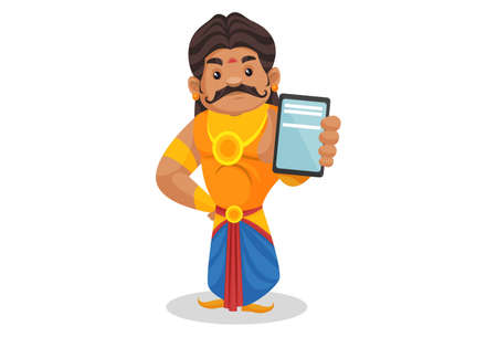 Duryodhana is showing a mobile phone. Vector graphic illustration. Individually on a white background.