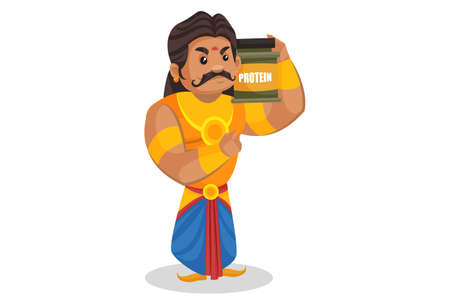 Duryodhana is showing a protein bottle. Vector graphic illustration. Individually on a white background.
