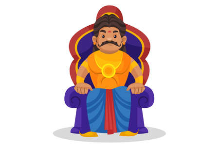Duryodhana is sitting on throne. Vector graphic illustration. Individually on a white background.
