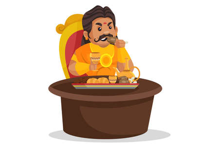 Duryodhana is eating food. Vector graphic illustration. Individually on a white background.