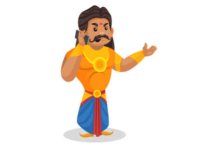 Duryodhana is talking on a mobile phone. Vector graphic illustration. Individually on a white background.