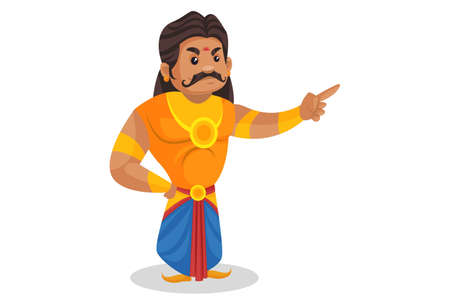 Duryodhana is pointing his finger. Vector graphic illustration. Individually on a white background.
