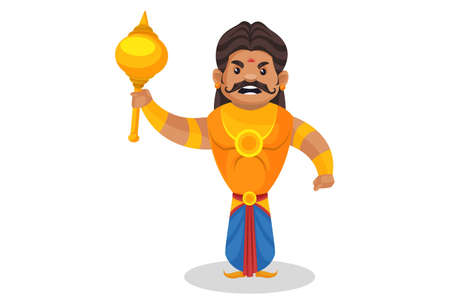 Duryodhana is happy and holding mace in hand. Vector graphic illustration. Individually on a white background.