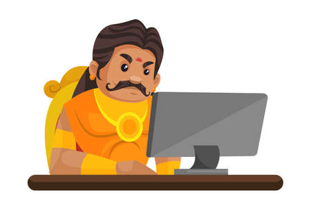 Duryodhana is sitting on throne and working on computer. Vector graphic illustration. Individually on a white background.