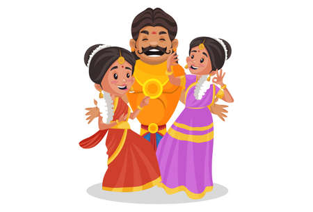 Duryodhana is dancing with women. Vector graphic illustration. Individually on a white background.