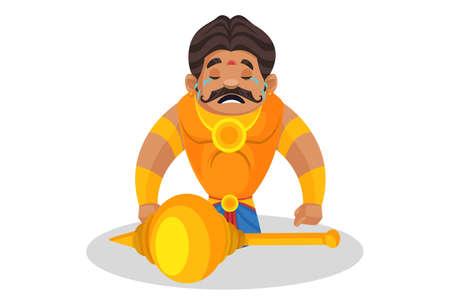 Duryodhana is sitting on his knees in front of mace and crying. Vector graphic illustration. Individually on a white background.