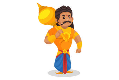 Duryodhana is placing mace on his shoulder. Vector graphic illustration. Individually on a white background.