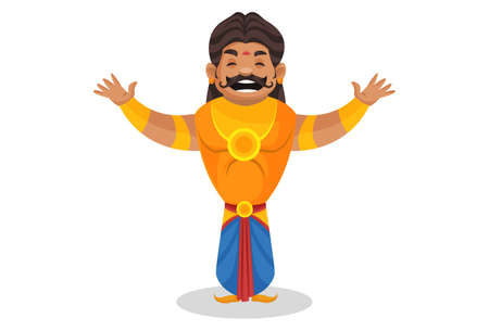 Duryodhana is laughing loudly with opening arms. Vector graphic illustration. Individually on a white background.