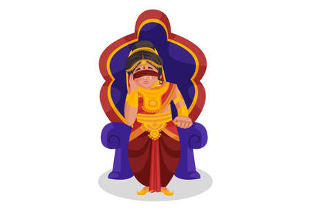 Gandhari is sitting on the throne sadly. Vector graphic illustration. Individually on white background.