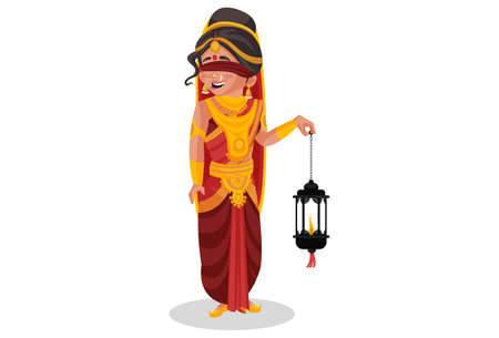 Gandhari is holding a lantern in her hand. Vector graphic illustration. Individually on white background.