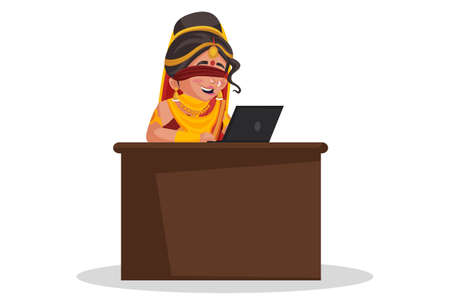 Gandhari is working on a laptop. Vector graphic illustration. Individually on white background.