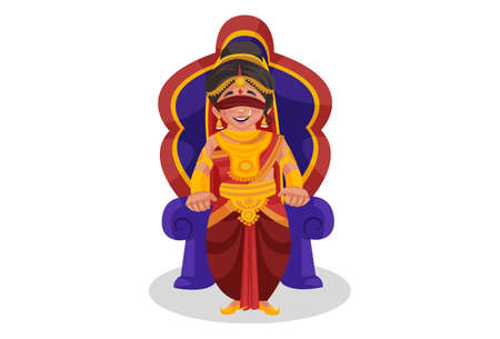 Gandhari is sitting on a throne. Vector graphic illustration. Individually on white background.