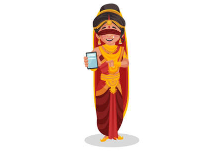 Gandhari is showing a mobile phone. Vector graphic illustration. Individually on white background. Ilustração