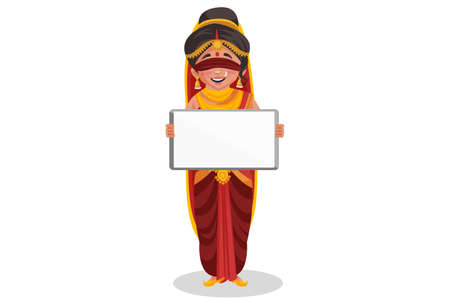 Gandhari is holding a whiteboard in hands. Vector graphic illustration. Individually on white background.
