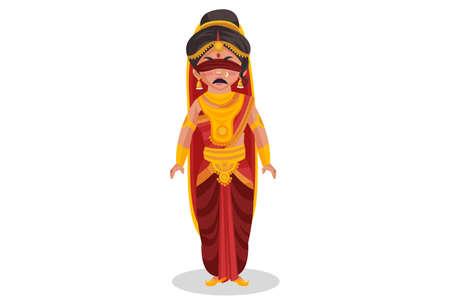 Gandhari is angry. Vector graphic illustration. Individually on white background. Ilustração