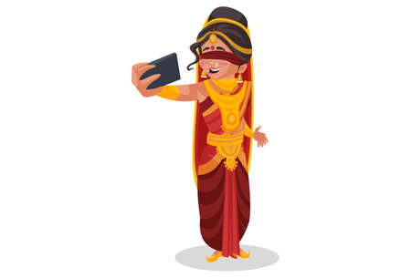 Gandhari is clicking selfie on a mobile phone. Vector graphic illustration. Individually on white background.