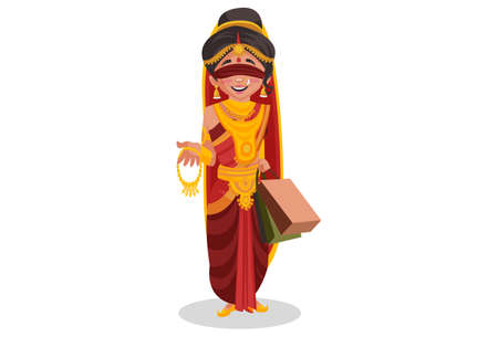 Gandhari is holding shopping bags and jewelry in hands. Vector graphic illustration. Individually on white background.