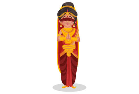 Gandhari is standing with greet hands. Vector graphic illustration. Individually on white background.