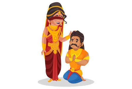 Gandhari is giving blessings to her son Duryodhana. Vector graphic illustration. Individually on white background.
