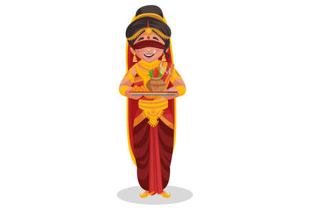 Gandhari is holding worship plate in her hands. Vector graphic illustration. Individually on white background.