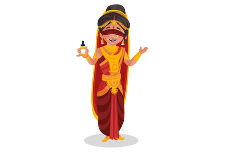 Gandhari is holding a medicine bottle in hand. Vector graphic illustration. Individually on white background.