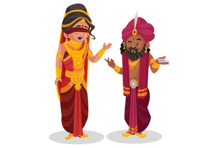 Gandhari is talking to her brother Shakuni. Vector graphic illustration. Individually on white background.