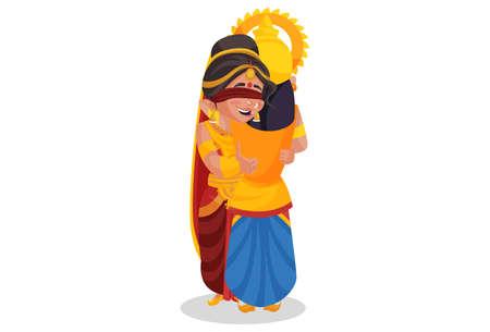 Gandhari is hugging her son Duryodhana. Vector graphic illustration. Individually on white background. Ilustração