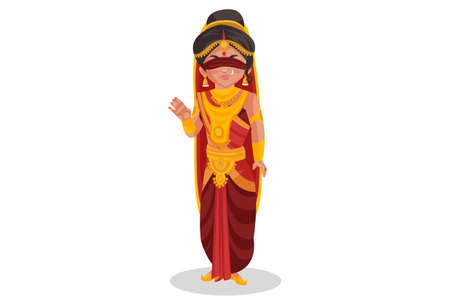 Gandhari is smiling. Vector graphic illustration. Individually on white background.
