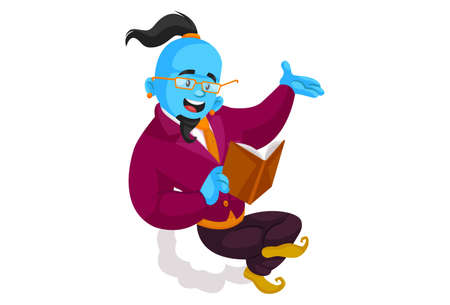 Vector graphic illustration. Smart genie is sitting on the cloud and reading a book. Individually on a white background.