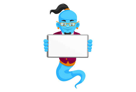 Vector graphic illustration. Smart genie is holding a banner in hand. Individually on a white background.