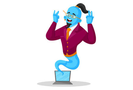 Vector graphic illustration. Smart genie is coming out from a laptop. Individually on a white background.