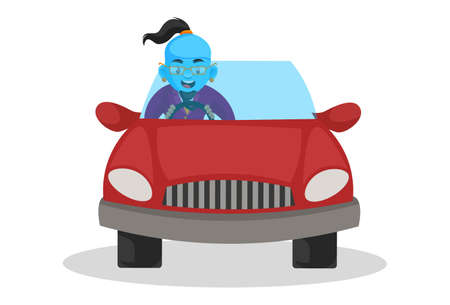Vector graphic illustration. Smart genie is driving a car. Individually on a white background.
