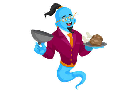 Vector graphic illustration. Smart genie is holding food plate in hand. Individually on a white background.
