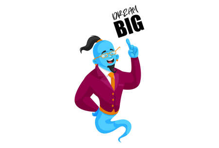 Vector graphic illustration. Smart genie is pointing with a finger. Lettering text - dream big. Individually on a white background.