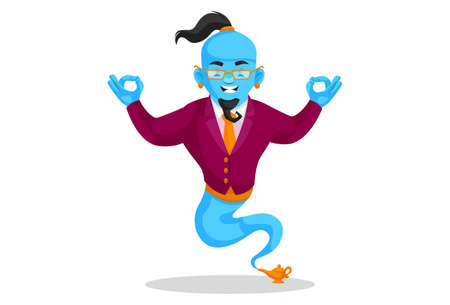 Vector graphic illustration. Smart genie is doing meditation. Individually on a white background.