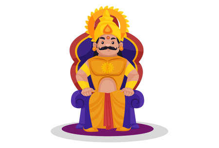 Karna is sitting on the throne. Vector graphic illustration. Individually on a white background.