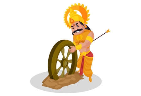 Karan is injured and picking up a wheel. Vector graphic illustration. Individually on white background. Ilustração