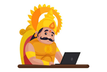 Karna is sitting on the throne and working on a laptop. Vector graphic illustration. Individually on a white background.