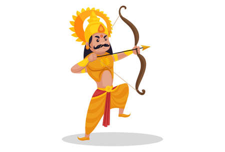 Karan is fighting in the war with bow and arrow. Vector graphic illustration. Individually on a white background.