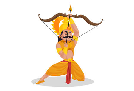 Karan is sitting on his knee and attacking in the war with bow and arrow. Vector graphic illustration. Individually on a white background.