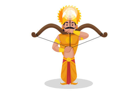 Karna is making a target with a bow and arrow. Vector graphic illustration. Individually on a white background. Ilustração