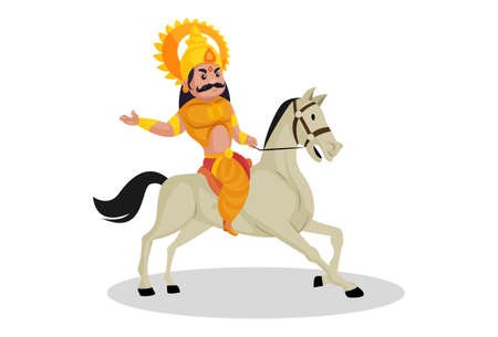Karna is riding the horse. Vector graphic illustration. Individually on a white background.